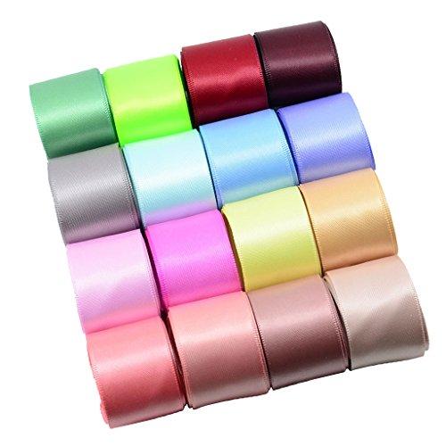 Sharplace 16 Farbiges Set Doppelseitiges Satinband Schleifenband Hochzeit Dekoband Geschenkband 25mm