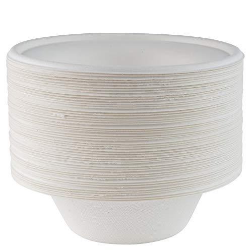 Cuencos de papel súper rígidos - extra fuerte color blanco desechables - ecológicos - biodegradables y compostables - perfecto no plástico alternativa platos de servir - Paquete de 50 - 8 oz - 350 ml