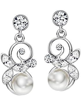 Neoglory Jewellery Ohrringe mit Swarovski® Elements Strass und Perlen weiß elegant