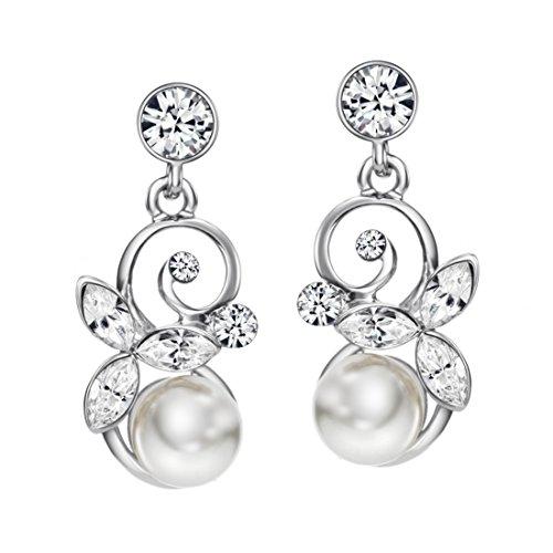 Neoglory Jewellery Silber Ohrringe mit Swarovski® Elements Strass und Perlen weiß