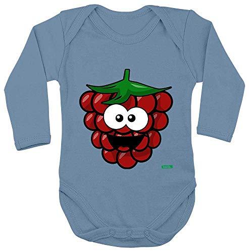 Mädchen Himbeer Kostüm - HARIZ Baby Body Langarm Himbeere Lachend Früchte Sommer Inkl. Geschenk Karte Himmel Hell Blau 50-56