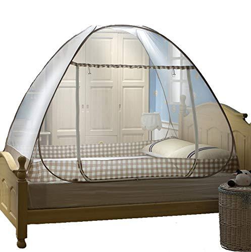LLSTRIVE Moskitozelt ,,Vollautomatisches Falten, u-förmiges Yurt-Moskitonetz, freie Installation, einzelne Tür, einzelnes Doppelbett, L, 1,0-m-Bett -