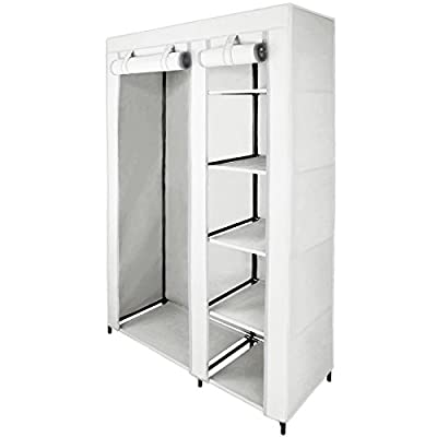 Canvas Fabric Wardrobe SMART 110 x 45 x 175 cm with Hanging Rail and Zipper by BB Sport - cheap UK light store.