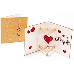 1pcs tarjeta de felicitación de la tarjeta de felicitación del corazón 3D Tarjeta de felicitación de la tarjeta de felicitación del cumpleaños del tarjeta de cumpleaños del amor para el día de San Valentín