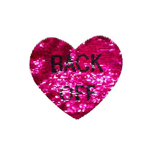 1 Stück große Pailletten Herz Böser Augen Patches kein Kleber Cartoon Motiv Applikation Stickerei Kleidung Aufnähen für Kleidung Kinder T-Shirt Jeans DIY Handwerk Farbe, 5