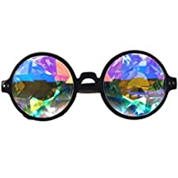 FLORATA Kaleidoscope Steampunk Goggles Multicolor Lens Glasses- Rainbow Rave Prism Diffraction