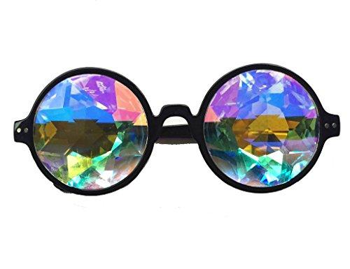 Kaleidoskop-Steampunk-Brille mit bunten Gläsern von Florata, leuchtendes Regenbogen-Prisma