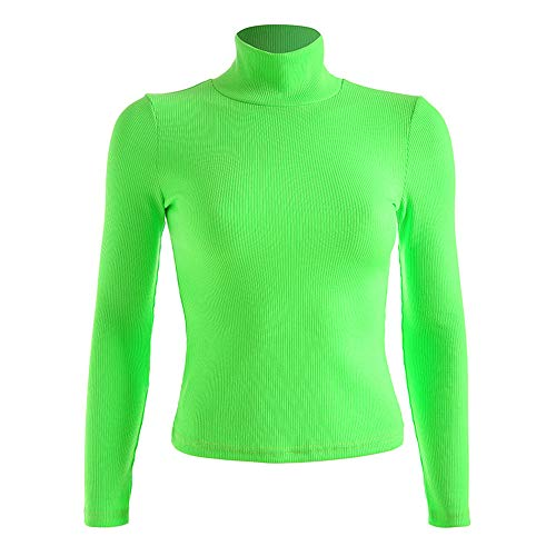 malianna Damen Casual Rollkragen-T-Shirt mit Langen Ärmeln, fluoreszierend, Grün - Grün - Groß -