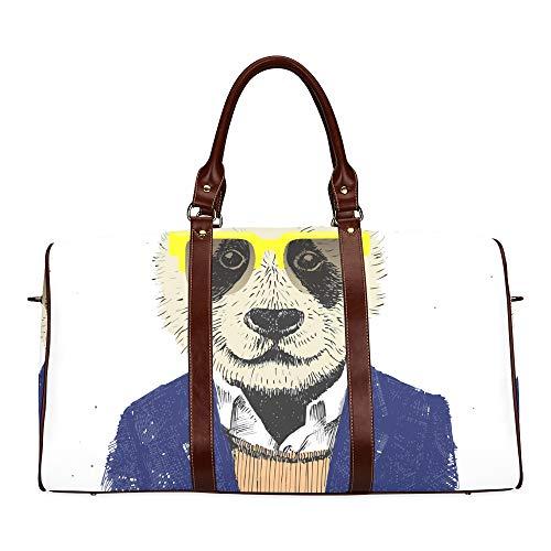 Reise-Seesack Verkleidet Hipster Panda In Brille wasserdicht Weekender Bag über Nacht Carryon Handtasche Frauen Damen Einkaufstasche mit Mikrofaser Leder Gepäcktasche