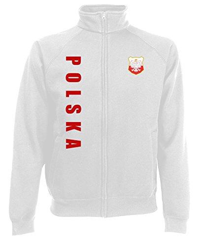 Polen Polska Sweatjacke Jacke Trikot Wunschname Wunschnummer (Weiß, L)