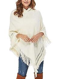 Jersey con Capucha Mujer Elegantes Primavera Anchas con Borlas Capa Invierno Otoño Suéter De Punto Vintage Casual Asimetricos Flecos Sweater Chal Poncho