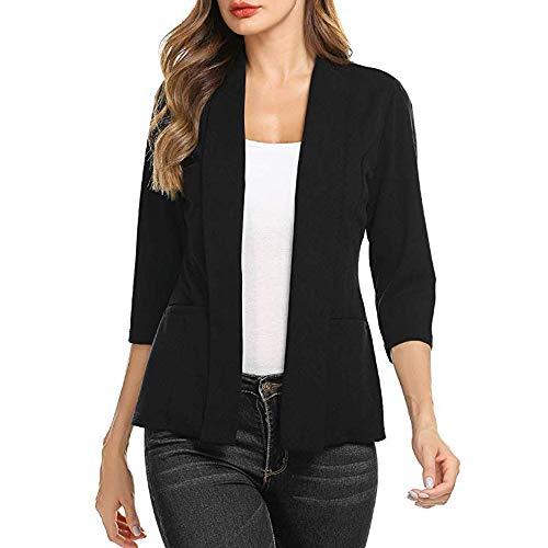 IMJONO Bluse Damen elegant Frauen Spitze Mode Vintage,Frauen Mini Anzug Lässige 3/4 Ärmel Offene Front Work Office Blazer Jacke BK/M(Medium,Schwarz)