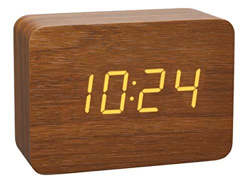 TFA Dostmann Design Funk-Wecker in Holz-Optik Clocco, 60.2549.08, Kunststoff, braun/orange