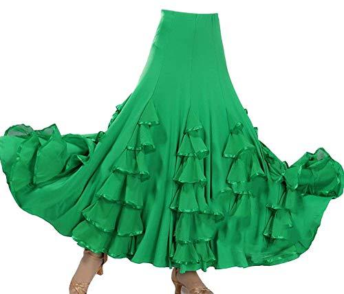 Mujer Maxi Plisada Faldas De Latino Tango Práctica De La Danza Ropa Verde Un tamaño