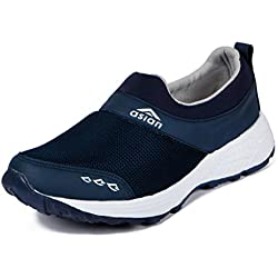 ASIAN Men's Navy Blue Mesh Sports Shoes - 8 UK