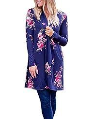 FEITONG Mujeres Boho Impresión Floral Suelto Chal Kimono Cardigan Cubierta superior Blusa