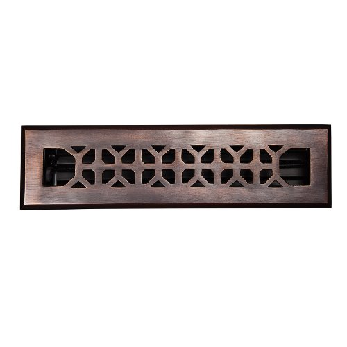 The Copper Factory CF142AN Solid Cast Copper Decorative 2.25-Inch by 12-Inch Floor Register with Damper, Antique Copper by The Copper Factory