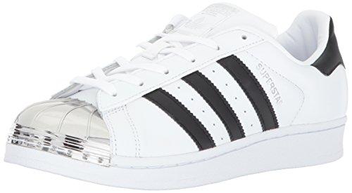 adidas Women's Superstar Metal Toe W Skate Shoe, White/Black/Silver