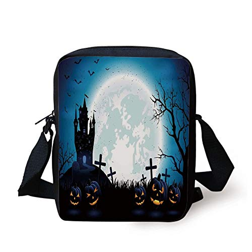 Halloween Decorations,Spooky Concept with Scary Icons Old Celtic Harvest Figures in Dark Image,Blue Print Kids Crossbody Messenger Bag Purse