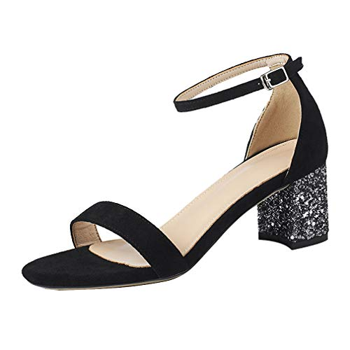 Agodor Damen Chunky Heels Knöchelriemchen Sandalen Blockabsatz Sandaletten mit 7cm Absatz Sommer Schuhe -