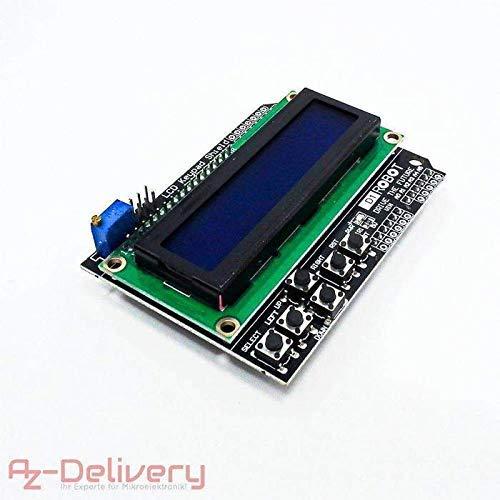 AZDelivery ⭐⭐⭐⭐⭐ LCD1602 Display Keypad Shield HD44780 1602 Modul mit 2x16 Zeichen für Arduino Lcd-display-modul