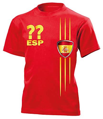 Spanien Fan Streifen 3211 Fussball Kinder Kids Jungen Mädchen Unisex Fanshirt Shirt Tshirt Fanartikel Artikel T-Shirts Rot 122