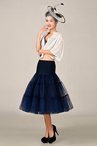 MicBridal® 1950s Braut Vintage Petticoat Unterrock Underskirt Crinoline für Rockabilly Kleid Marineblau