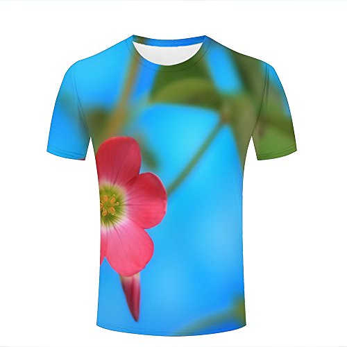 ouzhouxijia Mens 3D Printed T-Shirts Blue Sky and Pink Flowers Graphics Couple Tees B