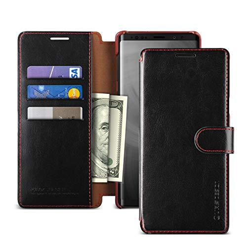 VRS Design Galaxy Note 9 Hülle, [Schwarz] PU-Leder-Geldhalter für 3 Karten [Layered Dandy] Handy-Schutzhülle mit Flip-Folio-Geldhalter-Abdeckung für Samsung Galaxy Note 9 (2018)