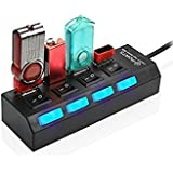 Ikrupa 4 Port Ultra High Speed USB Hub 480 Mbps For Laptop Desktop 3.0 Hub With Individual On/Off Power Switches And LEDs