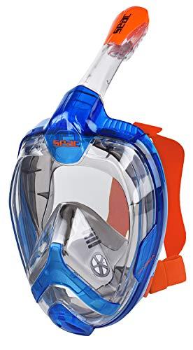 Seac Magica, Maschera Snorkeling Full Face Integrale con Morbido Facciale in 2 Taglie Unisex Adulto, Blu/Arancione, S/M