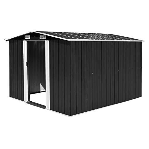 tidyard Caseta de Jardín Exterior con 4 Ventilación para Almacenamiento de Herramientas de A Prueba de Polvo y Resistente a la Intemperie de Acero Galvanizado 257x298x178 cm Antracita