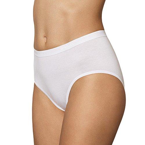 5er Pack Damen Taillenslips - UNWAGO - Maxislip - Slips aus Baumwolle - Unterhosen ohne Seitennähte - Kochfester Damenschlüpfer - 60 Grad - Farbe Weiß - Größe 40 bis 50 Weiß