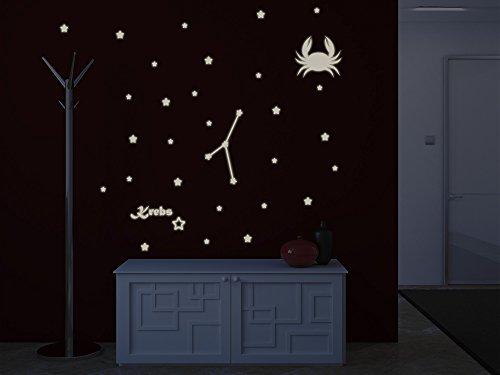 Bilderdepot24 Wandtattoo Leuchtfolie Sternzeichen Krebs - Fluoreszierend und Nachtleuchtend