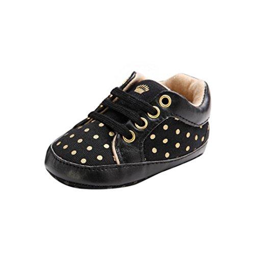 Tefamore Calzado de anti-slip sole suave zapatilla de deporte de bebé para niños pequeños (Longitud: 12CM(Edad: 6 ~12 Mes), Negro)