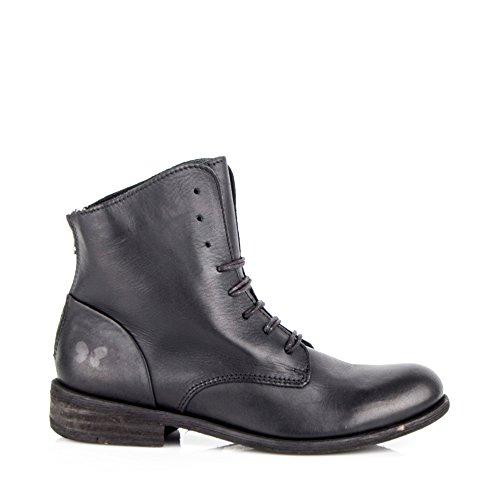 Felmini - Chaussures Femme - Tomber en amour avec Bomber 8497 - Bottes Lacets - Cuir Véritable - Noir - EU: Noir