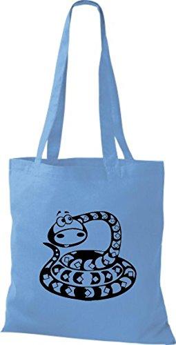Shirtstown Stoffbeutel Tiere Schlange Snake Hellblau