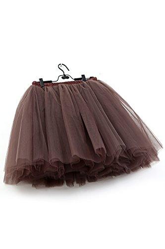MisShow Damen Rockabilly Tüll Petticoat Reifrock Unterrock Petticoat Underskirt für Rockabilly Kleid One Size 50CM-Läng Braun