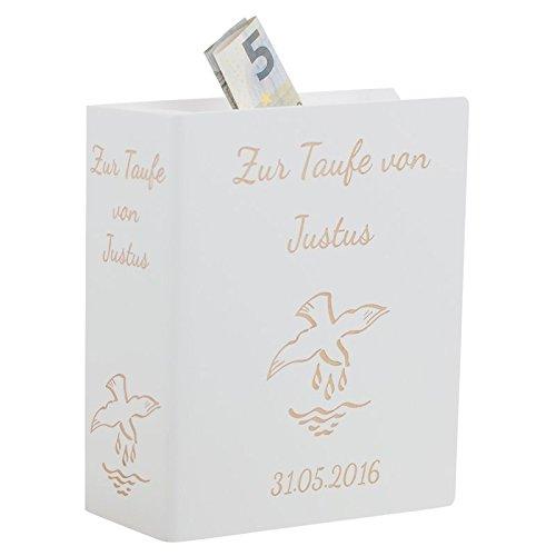 Geschenke 24 Sparbuch zur Taufe Weiß - personalisierte Taufgeschenke für Jungen & Mädchen von Paten | ein schönes Geldgeschenk mit Gravur