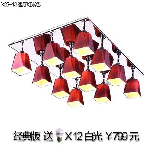 Ooccasion Rettangolare Creative Soggiorno Cristallo Led Lampade Da Soffitto Moderno Minimalista Master Bedroom Lampade Per (Peltro Spazzolato Due Luce)