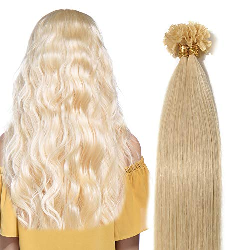 Extensions Keratine Pose a Chaud Extension Cheveux Naturel 100 Mèches/50g #613 Blond très clair - Pre Bonded Nail U Tip Remy Human Hair Extensions - 40cm