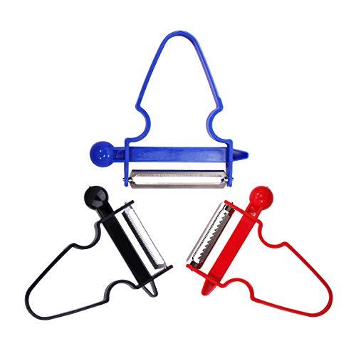 Peeler Shredder Slicer, Magic Trio Peeler Set of 3-Serrated, Potato Vegetable Apple Fruit Julienne Blue Black Red Kitchen Serrated Smooth Peeler Blades