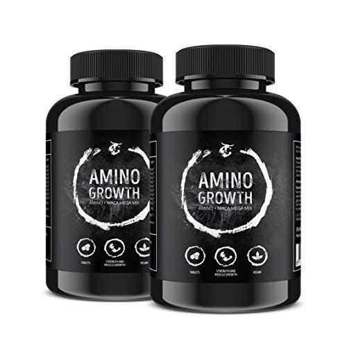 AMINO GROWTH 150-450 Tabletten (Vegan) | Hochdosiert mit 5000 mg/Portion | Aminosäuren Komplex mit Maca & Vitamin B6 | zum Muskelaufbau, Straffung, Diät & Leistungssteigerung (300 Tabletten)