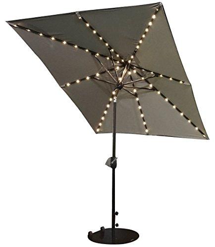 SORARA Sonnenschirm mit USB Ausgang - Sonnenkollektor - LED Beleuchtung   Sand/Beige   Rechteckig SOLAR   270 x 210 cm   Polyester 180 g/m² (UV 50+)  Kurbel Mechansimus   Incl. - Solarenergie-handy-fall