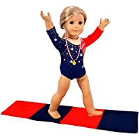 iBayda 3pc Diamond Crystal Leotard Doll Clothes For American Girl Dolls-Includes Gymnastics Outfit, Mat Set, Gold Metal (Patriotic Design for Summer Olympics)
