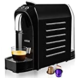AICOK Machine à Espresso pour Capsule Compatible Nespresso, 20 Bar, 25s Chauffage Rapide avec Système D'économie D'énergie, Boutons Programmables pour Espresso et Lungo, 0,7L, 1255W, Noir