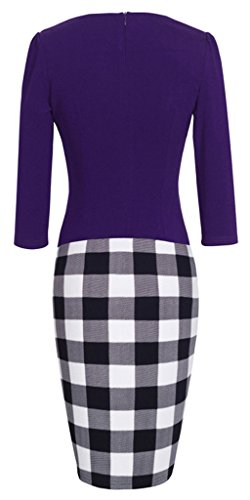 HOMEYEE - Robe - Moulante - Color Block Business One-pièce Manches 3/4 - Femme B237 Violet