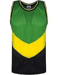 Para hombre Rasta y chaleco de Jamaica Material de malla 14fc45fd27850