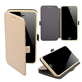 Moozy Hülle Flip Case für iPhone 5s SE, Gold - Dünne Glitzer Handy Klapphülle Shine Book mit Stand
