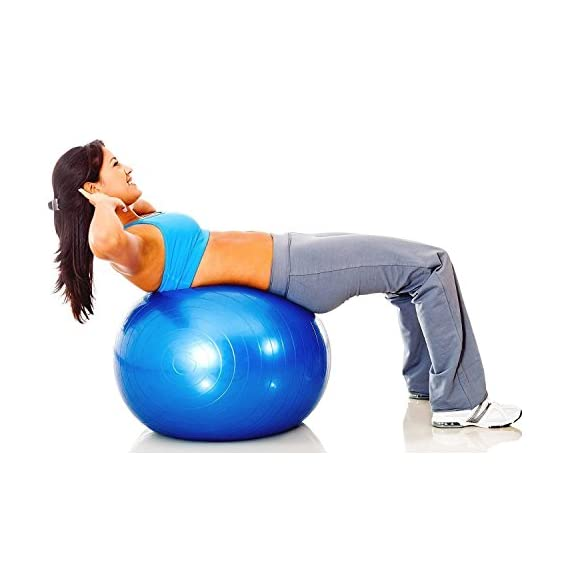 ORPIO (LABEL) Anti-Burst Fitness Exercise Stability Balance Yoga Ball, Gym Ball - Swiss Birthing Gym Ball 75 cm with Foot Pump (Multi-Color)